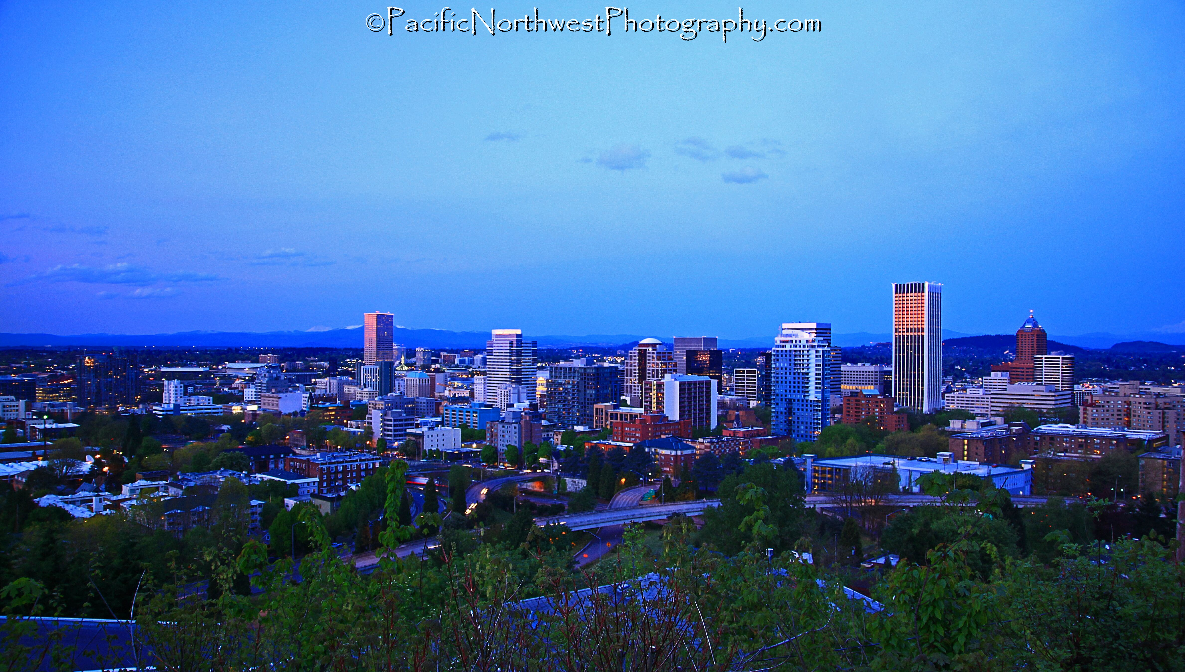 Downtown Portland just after sunset