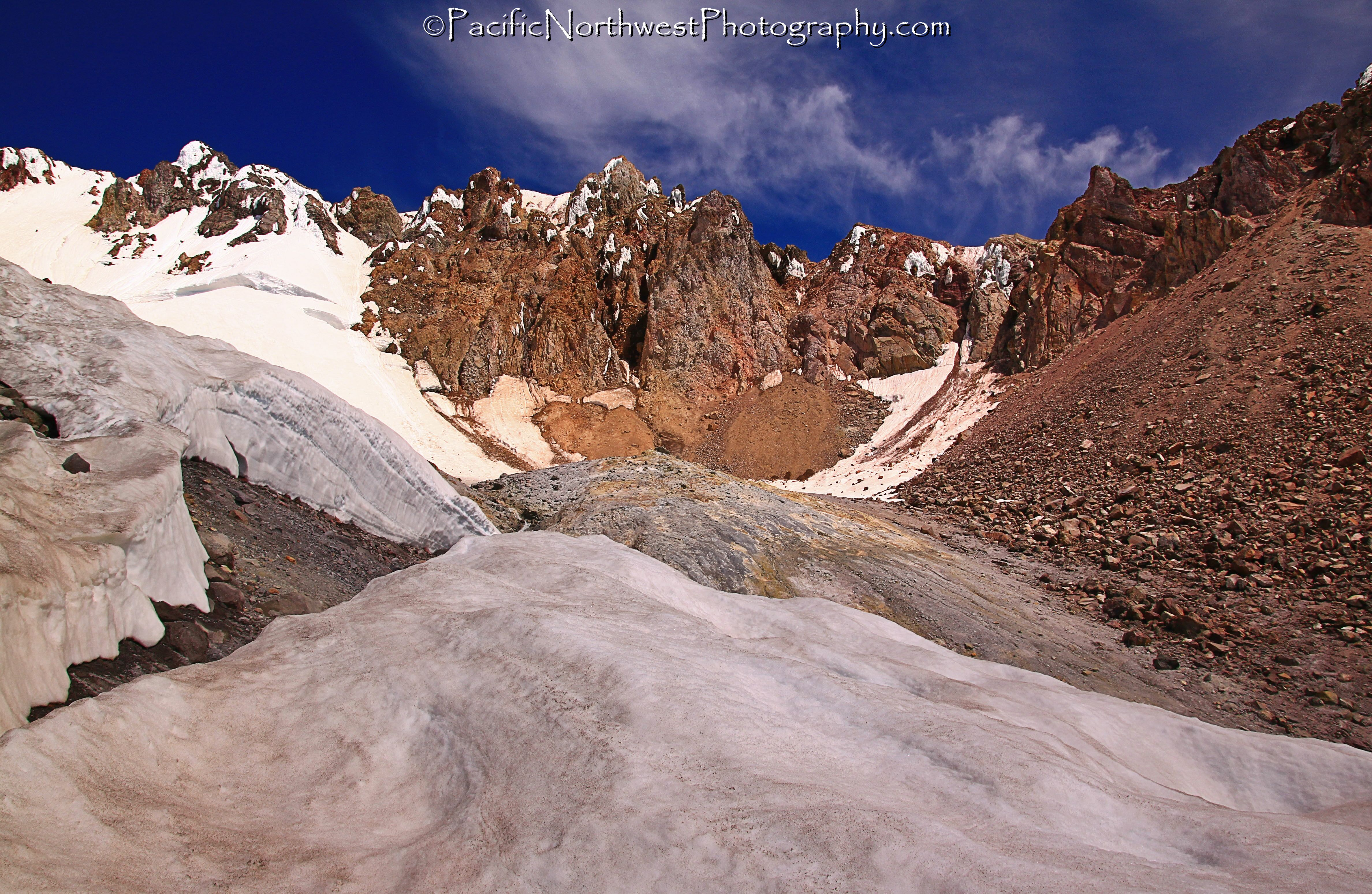Glacier and vent below the summit
