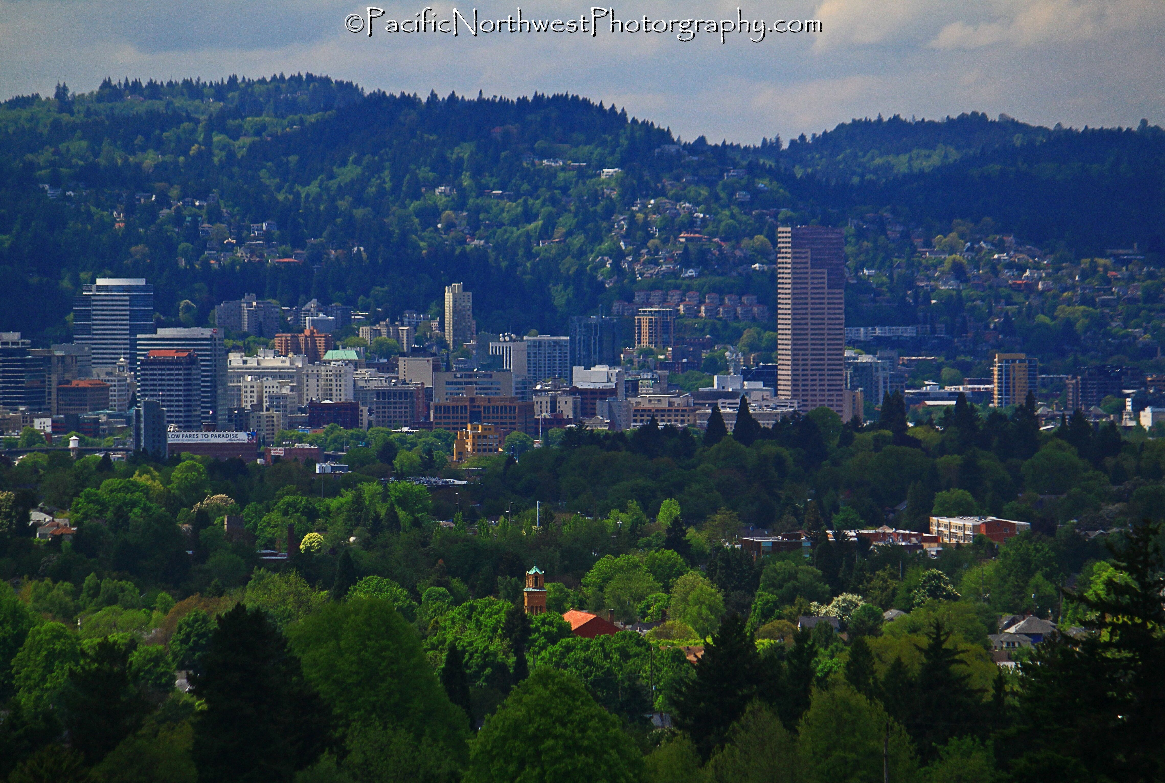 A sea of green surrounding Portland, OR