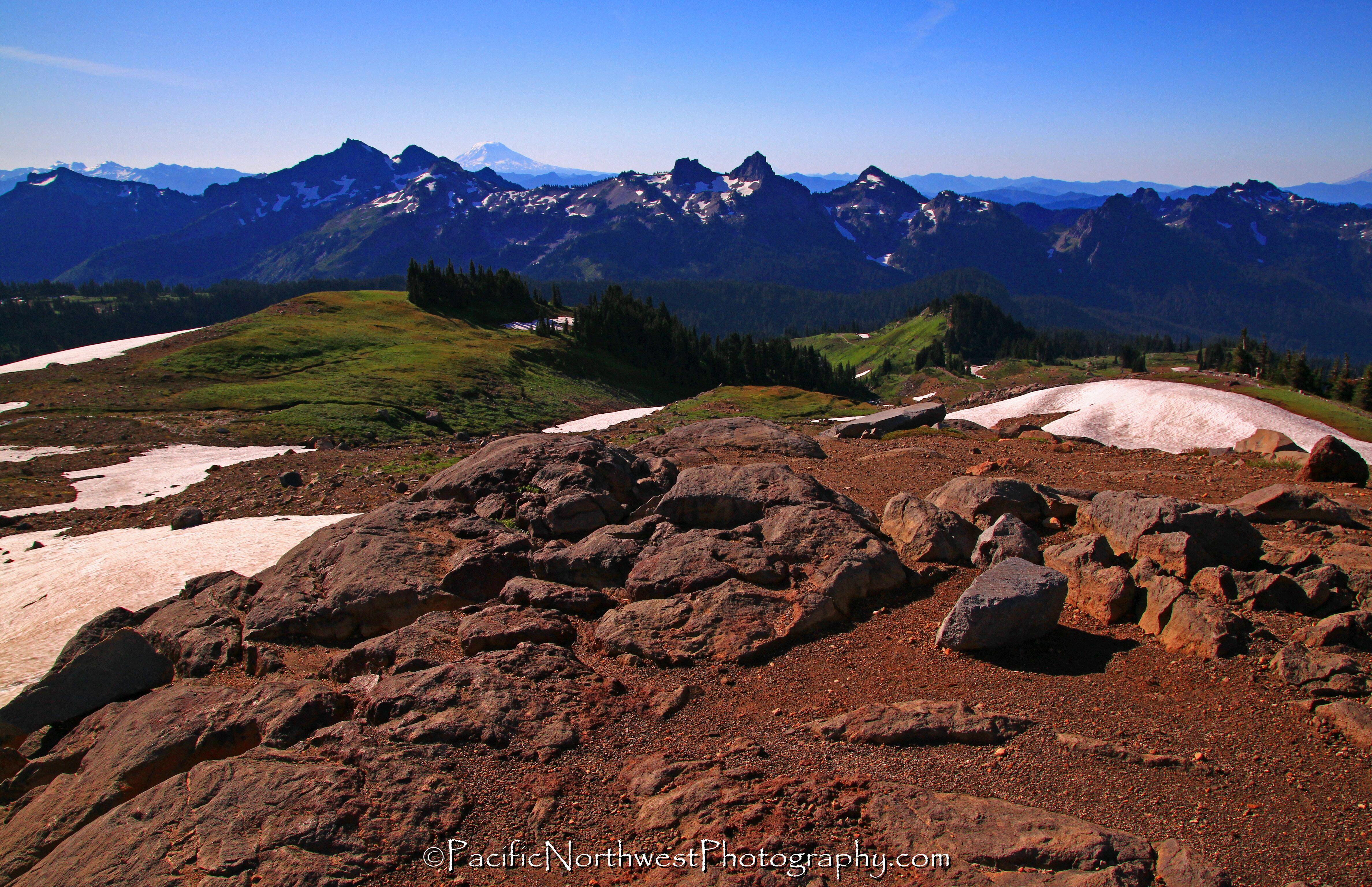 Tatoosh range with Mt. Adams in the distance