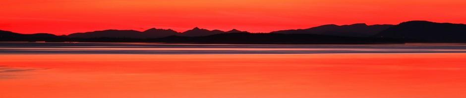 Orange sky over Vancouver Island, Canada