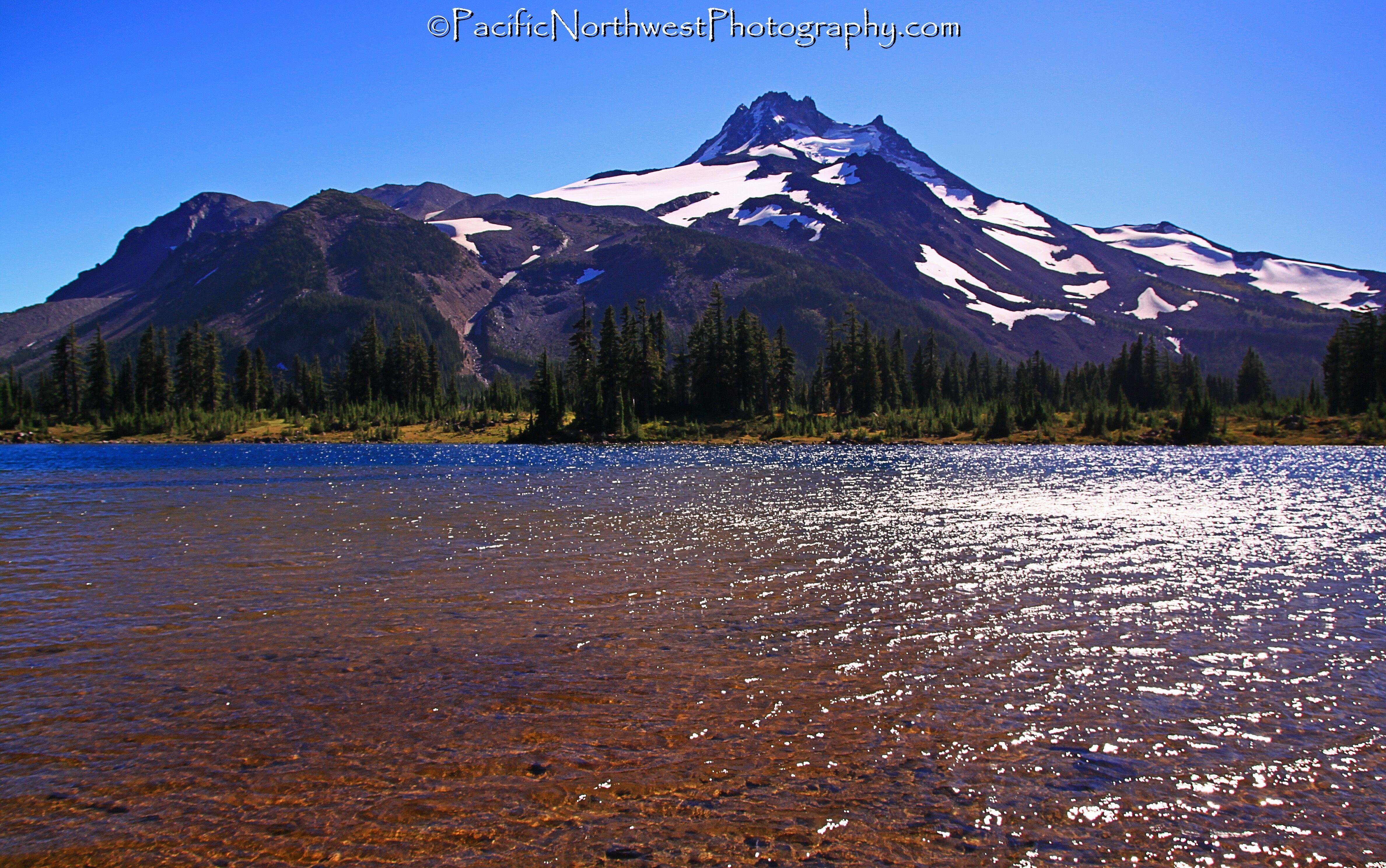 Alpine lake and Volcano