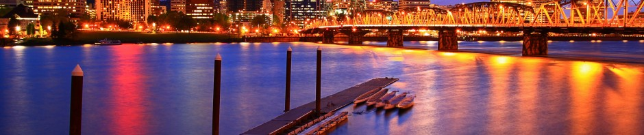 Portland, OR waterfront at night